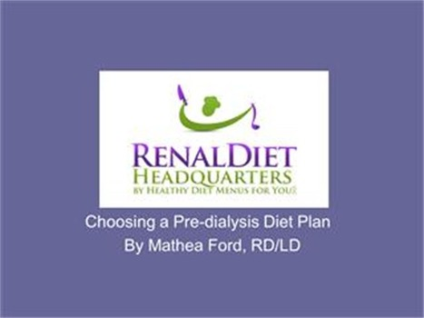 Choosing a Predialysis Diet Plan | Renal Diet Meal and Menu Plan | Scoop.it