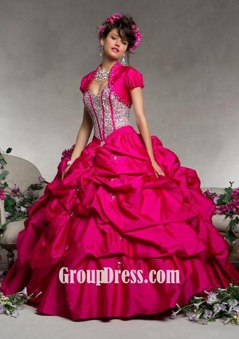 Rose Taffeta Beaded Quinceanera Gown with Matching Bolero | Evening Dress | Scoop.it