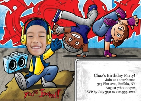 Show your guests how old school you are! Cardboard and boom box included! | kids birthday invites | Scoop.it