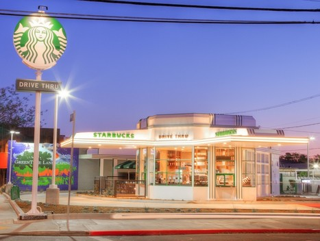 New Starbucks Drive-Thru in L.A. Is An Electric, Renovated Gas Station | MarketingHits | Scoop.it