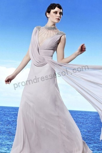 Prom dresses 2013 - Gray Round Neck Ruched Tencel A-line Party Queen Dress WL902 | 2013 new fashion prom dresses | Scoop.it