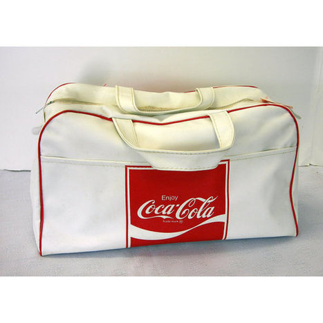 Vintage 1970s Red and White Coke Coca Cola Gym Style Bag Vinyl Enjoy Coca Cola Overnight Grip | Coca-Cola® New Products | Scoop.it