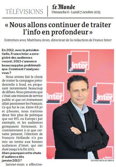 """Matthieu Aron: """"Nous sommes revenus à des scores décents""""   DocPresseESJ   Scoop.it"""