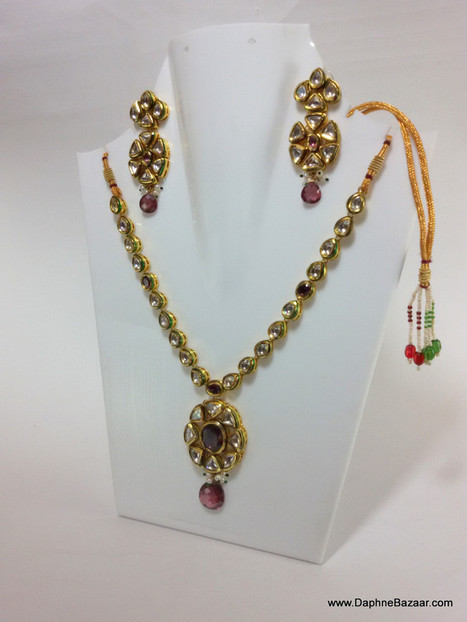 Indian Kundan Jewelry - Traditional Kundan Necklace Set with Violet Shade Stones | Ruby AD Pendant and Earrings | Scoop.it