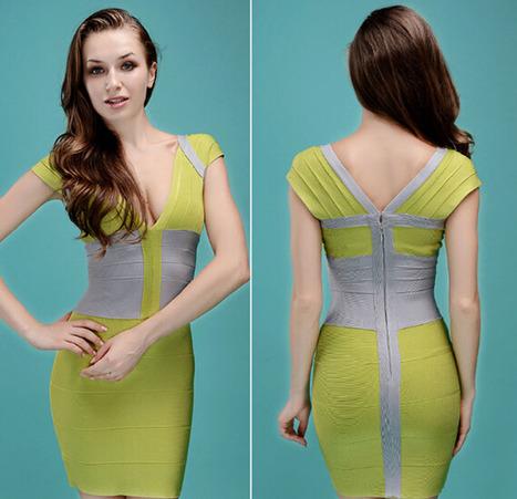 V-Neck Bandage dress for sale blue & green | Bandage dresses | Scoop.it