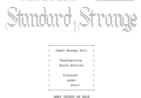 ( ͠° ͟ʖ ͡°) It's Cyber Monday Somewhere...Sail starts *NOW*   ASCII Art   Scoop.it
