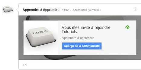 "Ma communauté Google+ ""Tutoriels"" - Espace d'apprentissage collaboratif 
