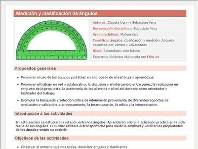 Medición y clasificación de ángulos | Recursos educ.ar | Ciencias exactas para docentes de secundaria | Scoop.it