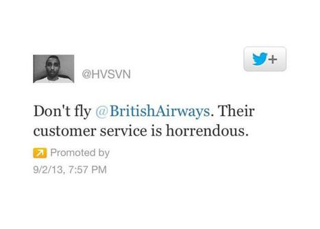 Il s'offre une pub Twitter pour critiquer sa compagnie aérienne   Social CRM   Scoop.it