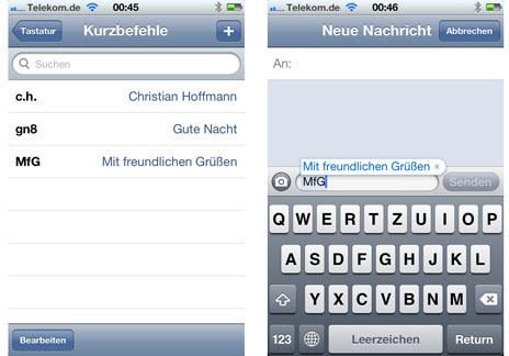 Kurzbefehle statt langem Tippen in iOS 5 | ifun.de/iPhone :: Alles zum iPhone | iOS Stuff | Scoop.it
