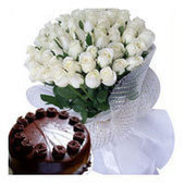 Online delivery of flower bouquet of White Rose and Chocolate cake Indore. | Gifts Delivery in India | Scoop.it