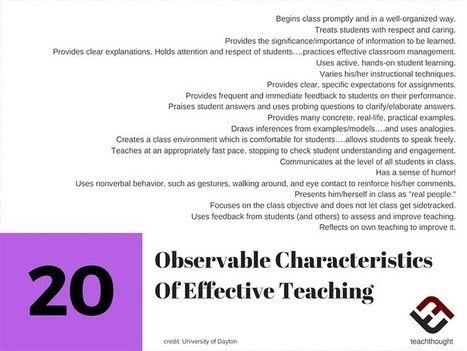 20 Observable Characteristics Of Effective Teaching - @TeachThought | Technology in Art And Education | Scoop.it