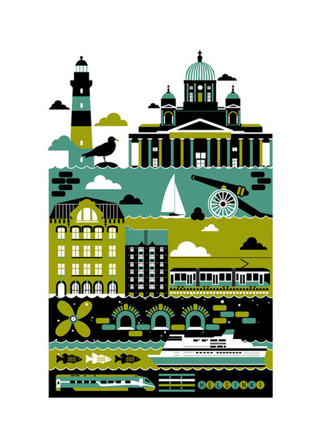 Helsinki city poster illustration | CreativeRoots - Art and design inspiration from around the world | Finland | Scoop.it