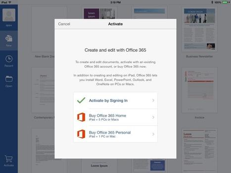 ↪ Microsoft Office para iPad agora conta com opção de assinatura mensal | Apple Mac OS News | Scoop.it