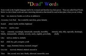 Dead Words | 6-Traits Resources | Scoop.it