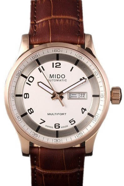 Replica Mido Multifort Brown Croco Leather Strap White-Silver Dial-$199.00 | Men's & Women's Replica Watches Collection Online | Scoop.it