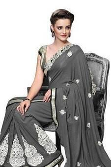 MOIAA - GREY GEORGETTE DESIGNER FENCY SAREE | Indian Salwar Kameez Online | Scoop.it