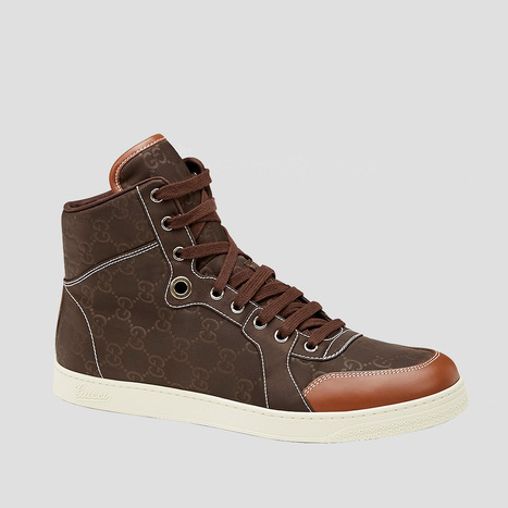 Gucci Mens Shoes Brown Nylon Guccissima High-Top Sneakers | Designer Mens Shoes | Scoop.it
