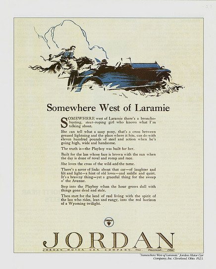 "Car Lust: ""Somewhere west of Laramie...."" The Jordan Playboy Roadster iconic ad 