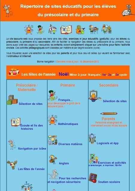 Un répertoire de sites éducatifs pour les enfants du préscolaire et du primaire | internet et education populaire | Scoop.it