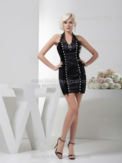 Sheath/Column Halter Satin Short/Mini Rhinestone Cocktail Dresses | Cocktail dresses online | Scoop.it