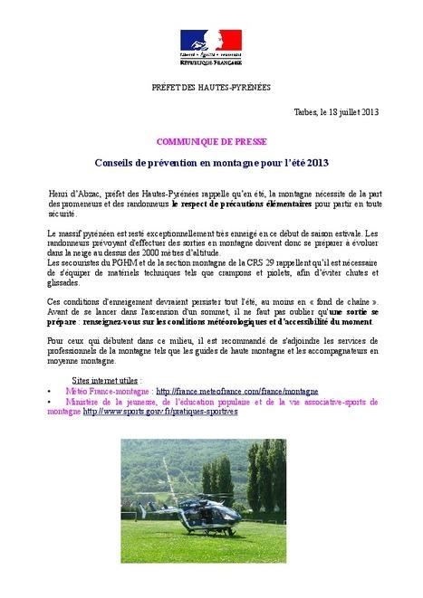 Conseil de prévention en montagne pour l'été 2013 - Préfecture des Hautes-Pyrénées   Vallée d'Aure - Pyrénées   Scoop.it