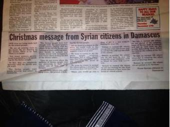 Christmas message from Syria citizens in Damascus | Global politics | Scoop.it