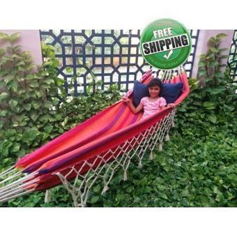 Sunset Striped Brazilian Fabric Hammock With Natural Fringes | Hammocks in India | Scoop.it