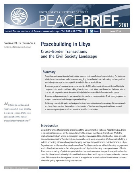 Peacebuilding in Libya: Cross-Border Transactions and The Civil Society Landscape | Peace | Scoop.it