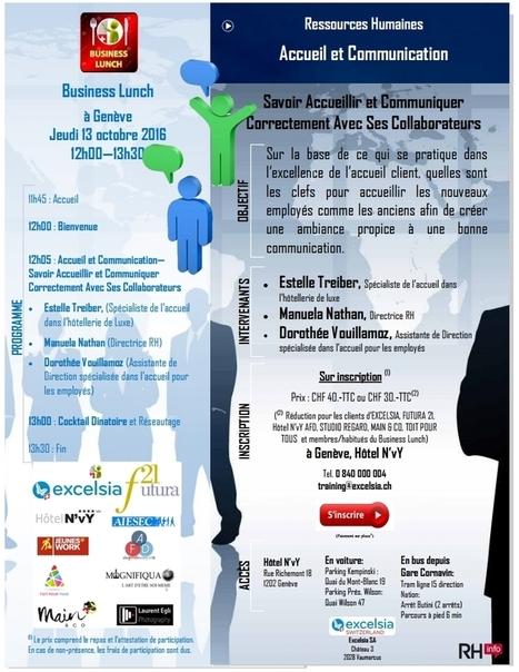 Business Lunch RH – « Accueillir et Communiquer Correctement Dans l'Entreprise » – Formation Suisse Romande | Formation entreprises et administrations | Scoop.it