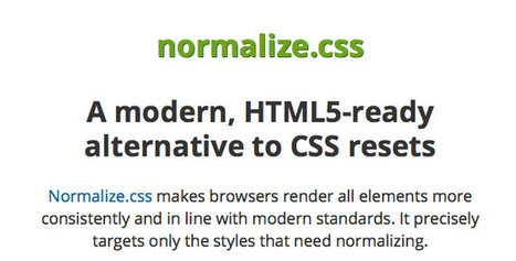 Normalize.css: A modern alternative to CSS resets - CodeVisually.com | coolwebworks | Scoop.it