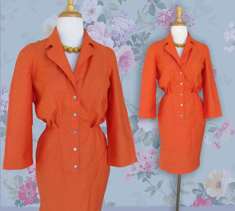 Vintage Thierry Mugler 1980s Dress. Orange Designer Dress.  Euro Size 38.  US size 8 | DustyDesert vintage | Scoop.it