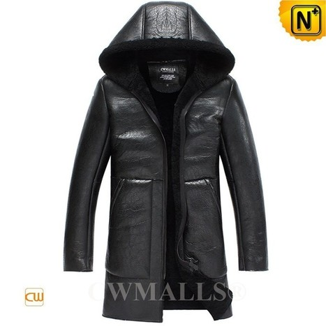 CWMALLS® Shearling Trench Coat with Hood CW838005 | Fur Lined Mens Coat | Scoop.it