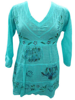 Peasant Tops Tiffany Blue Blouse Embroidered Green Elephant Print Top | Bohemian Fashion | Scoop.it