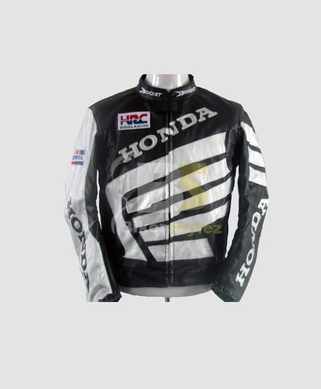 Honda Sturdy Black & White Racing Leather Jacket gives athletic look.   Honda Motorcycle Jackets   Scoop.it