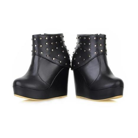 Wholesale Ladies leather boots with side zipper rivet shoes Z-XY909 black - Lovely Fashion | Chic summer streetstyle(sandals) | Scoop.it