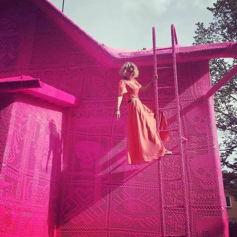 #Artist Olek Covers a #House in #Finland with #Pink #Crochet. #art #publicart #installation | Luby Art | Scoop.it
