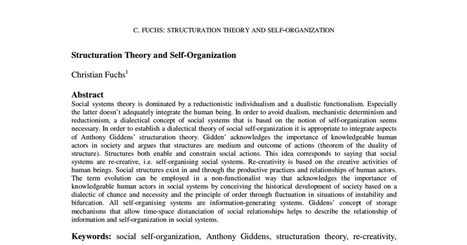 Structuration Theory and Self-Organization.PDF | Bounded Rationality and Beyond | Scoop.it