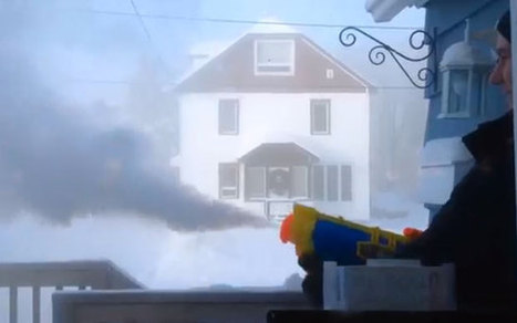 What happens when you fire water gun full of boiling water into -41 C air | Strange days indeed... | Scoop.it
