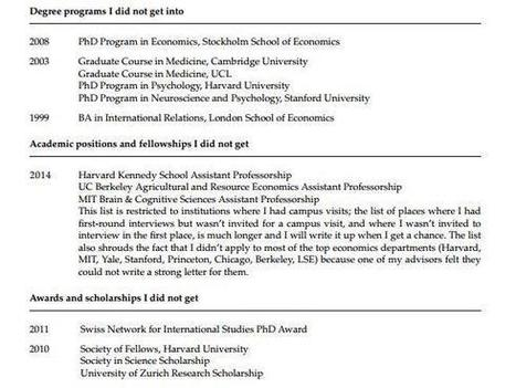 A Princeton psychology professor has posted his CV of failures online | Therapy | Scoop.it
