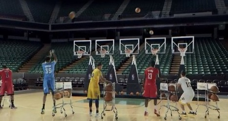 """WATCH: NBA players play """"Jingle Bells"""" by shooting three-pointers 