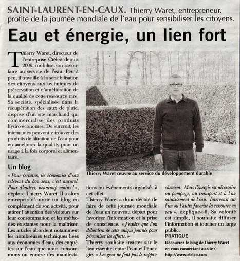Cieléo dans Paris-Normandie pour la Journée mondiale de l'eau | Solutions autour de l'eau | Scoop.it