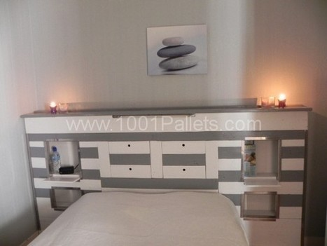 t te de lit en palette pallets headboar. Black Bedroom Furniture Sets. Home Design Ideas