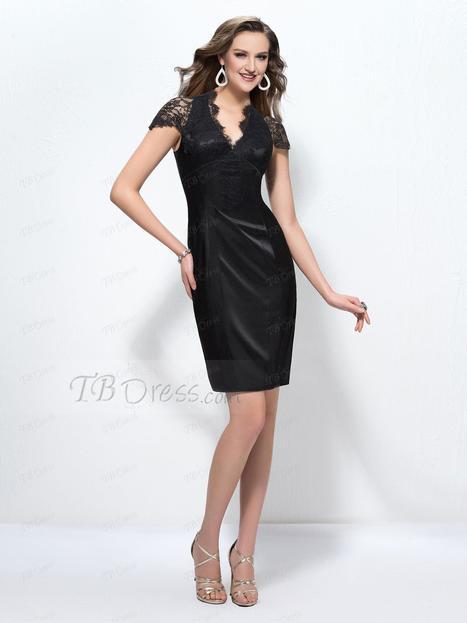 $ 63.79 Alluring Sheath Lace V-Neck Short Sleeves Knee-Length Formal Dress | business | Scoop.it