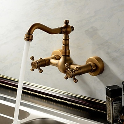 Antique inspired Kitchen Faucet Wall Mount - Antique Brass Finish - Faucetsmall.com | Bathroom Sink Faucets or Kitchen Faucets | Scoop.it