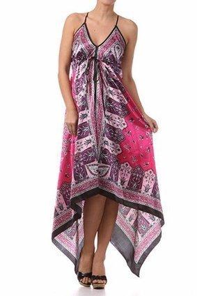 Silk Feel Handkerchief Hem Criss Cross Back Adjustable Maxi / Long Dress | Summer Dresses | Scoop.it