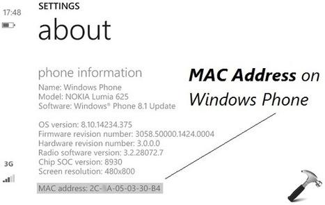 how to find windows 8 phone mac address