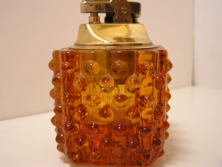 VTG Amber Hobnail Glass Lighter 1950s Mad Men | Antiques & Vintage Collectibles | Scoop.it