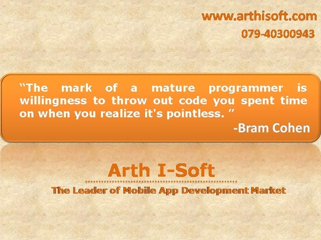 Arth I-Soft The Leading Mobile App Development Company..!!! | iphone application development | Scoop.it