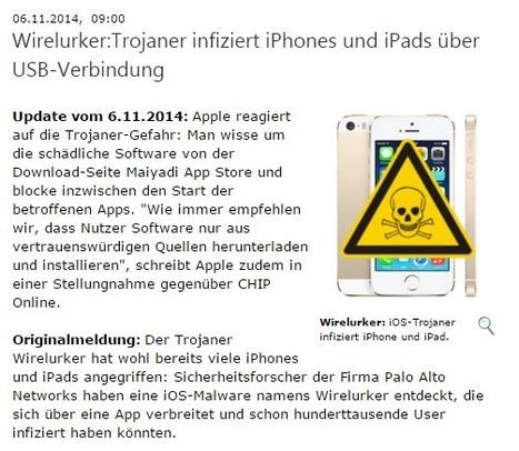 Wirelurker:Trojaner infiziert iPhones und iPads über USB-Verbindung   Apple, Mac, iOS4, iPad, iPhone and (in)security...   Scoop.it